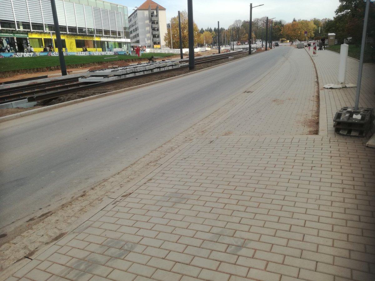 Reichenhainer Straße in Chemnitz kurz vor Fertigstellung des Umbaus 2017