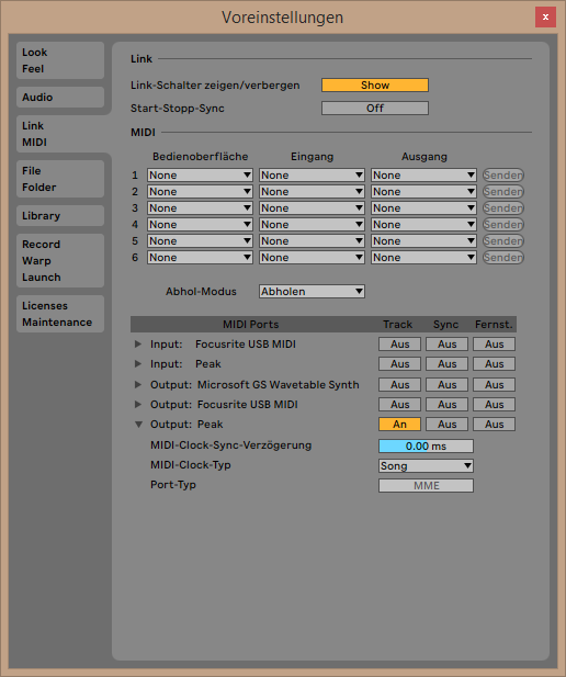Ableton Live Midi Settings Dialogue