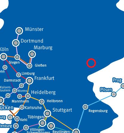 Deutschlandkarte mit Busverbindungen, zahlreich im Westen, leer im Osten, außer von Süden Prag